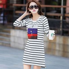 Zyote - Colour Block Stripe Long-Sleeve Dress