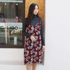 Envy Look - Spaghetti-Strap Floral Pattern Dress