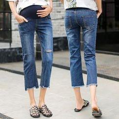 Oulimom - 孕婦破洞短款牛仔褲