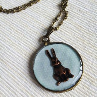 MyLittleThing - Copper Bunny Clock Necklace (Blue)
