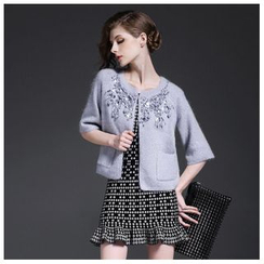 Y:Q - 3/4-Sleeve Rhinestone Knit Jacket