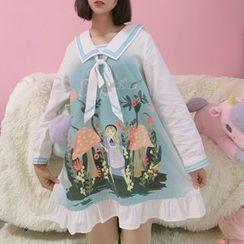 Moricode - 水手領印花長袖連衣裙