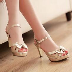 YOUIN - 蝴蝶结高跟凉鞋