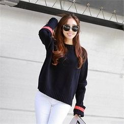PIPPIN - Contrast-Trim Knit Top