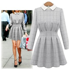 Coronini - Long-Sleeve Check Pleated Collared Dress