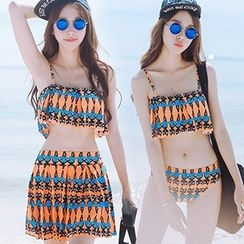 Sewwi - Set: Cat Print Ruffle Trim Bikini Top + Swim Bottom + Swim Skirt