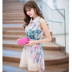 Dowisi - Printed Sleeveless Collared Dress