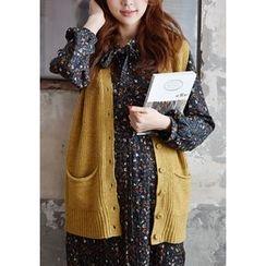 GOROKE - V-Neck Buttoned Wool Blend Knit Vest