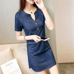 Cobogarden - Pocketed Short Sleeve Denim Dress