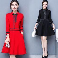 EFO - 3/4-Sleeve Contrast-Trim Dress