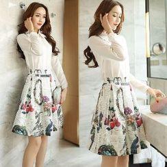 Romantica - Set: Long-Sleeve Shirt + Printed Skirt