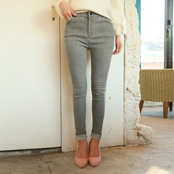 DABAGIRL - Brushed-Fleece Lined Skinny Pants