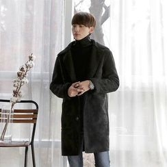 Seoul Homme - Dual-Pocket Single-Breasted Faux-Shearling Coat