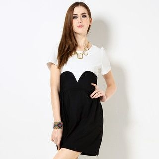 59 Seconds - Short-Sleeved Color-Block A-Line Dress
