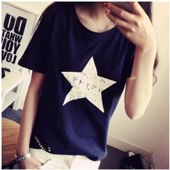 MayFair - Distressed Star Print Short-Sleeve T-Shirt