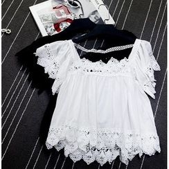 AIGIL - Short-Sleeve Lace Top