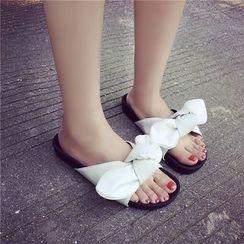 HOONA - Bow-Accent Flat Mule Sandals