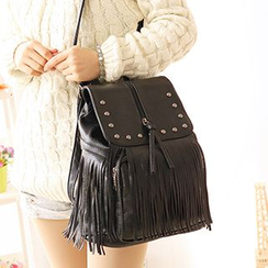 Canvas Love - Fringed Faux Leather Backpack