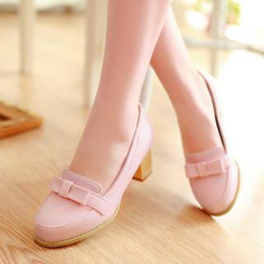 Pastel Pairs - Bow Heeled Loafers