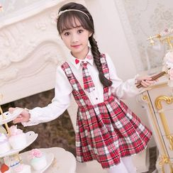 Candy Rain - Kids Mock Two Piece Plaid Panel Collared Long Sleeve Dress