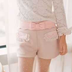 Candy Rain - Kids Bow Accent Lace Trim Shorts