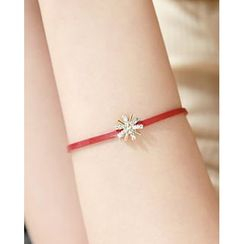 Miss21 Korea - Rhinestone Flower Charm Faux-Leather Bracelet