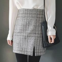 mimi&didi - Slit-Hem Glen-Plaid Mini Skirt