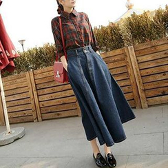 BOHIN - Denim A-Line Midi Skirt