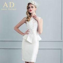 Aision - Set: Sleeveless Peplum Top + Pencil Skirt