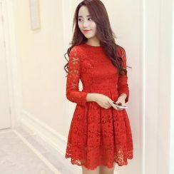 Romantica - Long-Sleeve Lace Pleated Dress