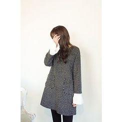 CHERRYKOKO - Ruffle-Cuff Tweed Mini Shift Dress