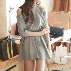 Fashion Street - Cutout Shoulder Tie-Waist Dress