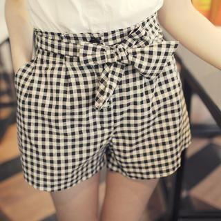 Tokyo Fashion - Tie-Waist Gingham Shorts