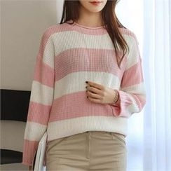 CHICFOX - Round-Neck Striped Knit Top