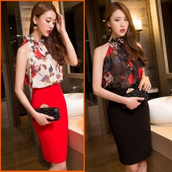 Sherbo - Set: Sleeveless Floral Top + Pencil Skirt