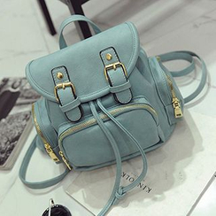 Hase Babe - Buckled Faux Leather Backpack