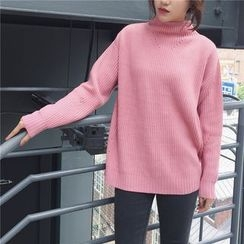 Bloombloom - Plain Mock Neck Sweater