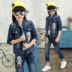 Princess House - Kids Set:  Print Denim Jacket + Jeans