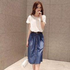 Flower Creek - Set: Short-Sleeve Eyelet-Lace Top + Denim Midi Skirt