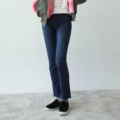 Vintage Vender - Fringed-Hem Boot-Cut Jeans