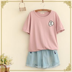 Fairyland - Embroidered Short-Sleeve T-shirt