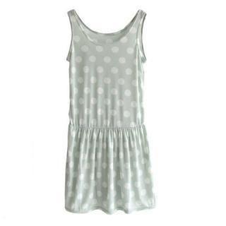 CUTIE FASHION - Gathered-Waist Polka Dot Sleeveless Dress