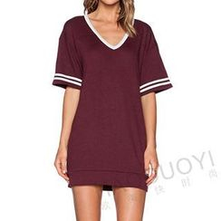 Obel - Elbow-Sleeve V-Neck T-Shirt