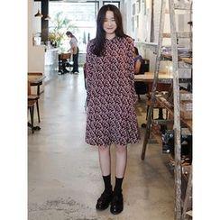 maybe-baby - Mandarin-Collar Pattern Dress
