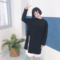 Tiny Times - Set: Long-Sleeve Slit A-Line Dress + Sleeveless Pleated Dress