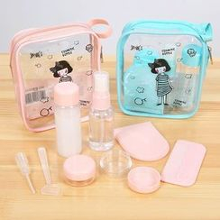 Class 302 - Set of 6: Travel Cosmetics Bottle + Mirror + Comb