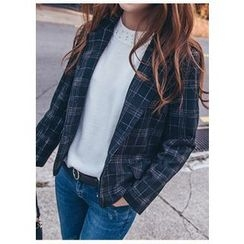 Chlo.D.Manon - Flap-Pocket Single-Breasted Plaid Blazer