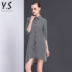 Y:Q - 3/4-Sleeve Striped Asymmetric Shirtdress