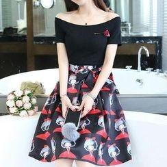 Effie - Set: Short-Sleeve Off-Shoulder Top + Bow-Accent Printed A-Line Skirt