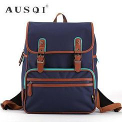 Ausqi - Contrast-Trim Buckled Canvas Backpack (4 Designs)